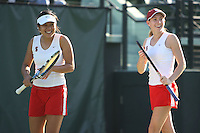 STANFORD, CA - JANUARY 30:  Jessica Nguyen and Carolyn McVeigh of the Stanford Cardinal during Stanford's 6-1 win over the Colorado Buffaloes in the ITA Indoor Qualifying on January 30, 2009 at the Taube Family Tennis Stadium in Stanford, California.