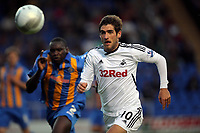 Pictured: Danny Graham of Swansea charging towards Shrewbury's defence. Tuesday 23 August 2011<br />