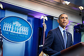 United States President Barack Obama speaks to reporters in the Brady Press Briefing Room in Washington, District of Columbia, U.S., on Sunday, June 12, 2016, about the deadly shooting the night before in a gay nightclub in Orlando FL. Approximately 50 people were killed and at least 53 more were injured in what appears to be the deadliest mass shooting in U.S. history. <br /> Credit: Pete Marovich / Pool via CNP