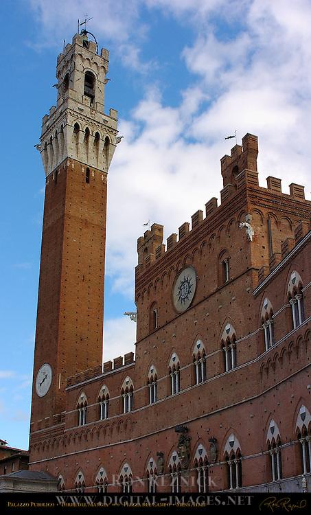 Palazzo Pubblico 14th c. Town Hall, Torre del Mangia, Piazza del Campo, Siena, Italy