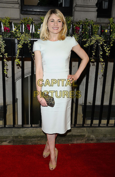 Jodie Whittaker<br /> attending the BFI Luminous Gala Dinner, 8 Northumberland Avenue, London, England.<br /> 8th October 2013<br /> full length white dress  blue hand on hip clutch bag  <br /> CAP/CAN<br /> &copy;Can Nguyen/Capital Pictures