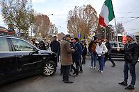 Milano, protesta del movimento dei forconi contro il governo e la politica, blocco del traffico<br /> Milan,  protest of the pitchforks movement against the government  and politics, demonstrators blocking the traffic.
