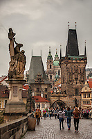 The Gothic Charles Bridge is one of the most important monuments of medieval architecture in Bohemia.