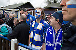 Wealdstone 0 Newport County 0, 17/03/2012. St Georges Stadium, FA Trophy Semi Final. A home supporter looks dejected at the final whistle at St Georges Stadium, home ground of Wealdstone FC, as the club played host to Newport County (yellow) in the semi-final second leg of the F.A. Trophy. The game ended in a goalless draw, watched by a capacity crowd of 2,092 which meant the visitors from Wales progressed by three goals to one to the competition's final at Wembley, where they would meet York City. The F.A. Trophy was the premier cup competition for non-League clubs in England and Wales affiliated to the Football Association. Photo by Colin McPherson.