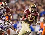 Florida State fullback Freedie Stevenson makes a 27 yard touchdown run in the second half of an NCAA college football game against Florida in Tallahassee, Fla., Saturday, Nov. 26, 2016.  Florida State defeated Florida 31-13.  (AP Photo/Mark Wallheiser)