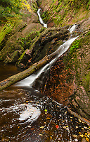 Morgan Falls flows in Autumn in Ashland County, Wisconsin