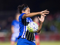 Boyds, MD - April 16, 2016: Boston Breakers midfielder Kyah Simon (17). The Washington Spirit defeated the Boston Breakers 1-0 during their National Women's Soccer League (NWSL) match at the Maryland SoccerPlex.
