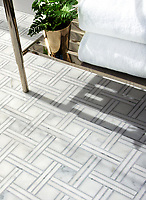 Jennifer, a hand-cut mosaic, shown in Calacatta polished, Carrara polished, Thassos polished, is part of The Studio Line of Ready to Ship mosaics.