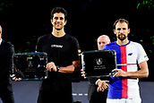 5th November 2017, Paris, France. Rolex Masters mens tennis doubles tournament final;  Lukasz Kubot and Marcelo Melo (Bra) with trophies for winning