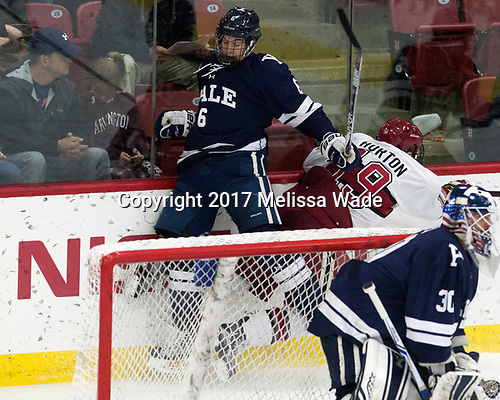 Billy Sweezey (Yale - 6), Jake Horton (Harvard - 19) - The Harvard University Crimson tied the visiting Yale University Bulldogs 1-1 on Saturday, January 21, 2017, at the Bright-Landry Hockey Center in Boston, Massachusetts.