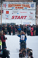 Aaron Peck team leaves the start line during the restart day of Iditarod 2009 in Willow, Alaska