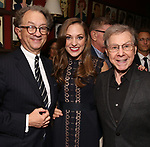 William Ivey Long, Laura Osnes and Maury Yeston attend the William Ivey Long Sardi's portrait unveiling and 70th Birthday Party at Sardi's Restaurant on August 30, 2017 in New York City.