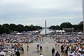 Crowd at the Let Freedom Ring ceremony on the steps of the Lincoln Memorial looking towards the Washington Monument to commemorate the 50th Anniversary of the March on Washington for Jobs and Freedom<br /> Credit: Ron Sachs / CNP