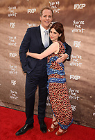 "LOS ANGELES, CA - APRIL 3: (L-R) Chris Geere and Aya Cash attend the FYC Red Carpet event for the series finale of FX's ""You're the Worst"" at Regal Cinemas L.A. Live on April 3, 2019 in Los Angeles, California. (Photo by Frank Micelotta/FX/PictureGroup)"