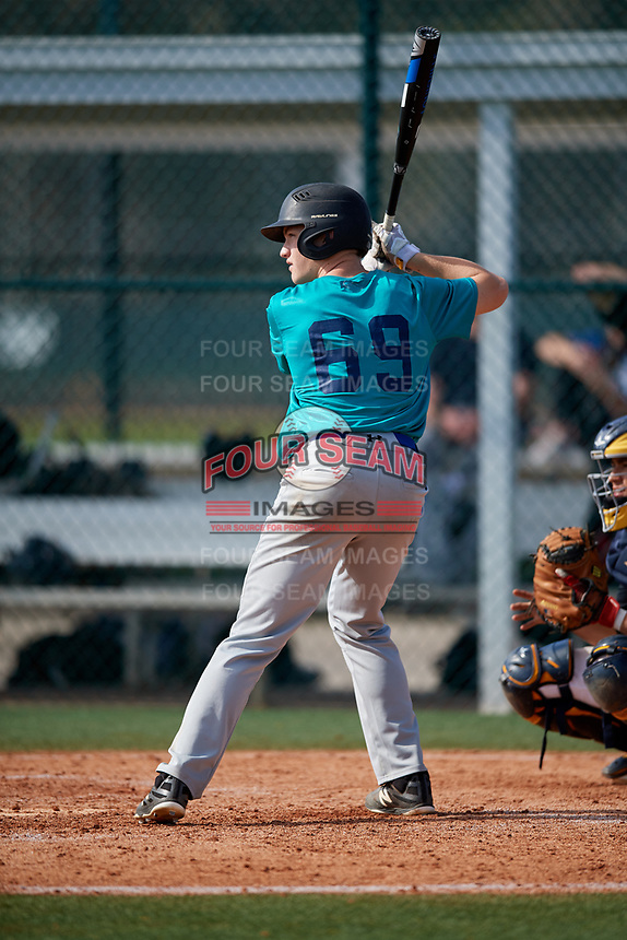Andrew Toler (69) of Bidwell, Ohio during the Baseball Factory Pirate City Christmas Camp & Tournament on December 30, 2018 at Pirate City in Bradenton, Florida. (Mike Janes/Four Seam Images)