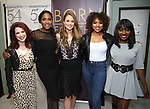 "Kirsten Wyatt, Nita Whitaker, Maddie Shea Baldwin, Liisi LaFontaine and Loren Lott backstage after a Song preview performance of the Bebe Winans Broadway Bound Musical ""Born For This"" at Feinstein's 54 Below on November 5, 2018 in New York City."