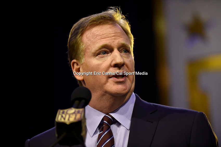 Friday, February 5, 2016: NFL Commissioner Roger Goodell speaks at a Super Bowl 50 press conference at the Moscone Center in San Francisco, California. Eric Canha/CSM