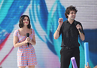 "Lucy Hale and David Dobrik onstage at FOX's ""Teen Choice 2019"" at the Hermosa Beach Pier Plaza on August 11, 2019 in Hermosa Beach, California. (Photo by Frank Micelotta/Fox/PictureGroup)"