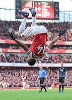 Arsenal v Burnley Premier League Pierre-Emerick Aubameyang of Arsenal celebrates scoring his goal against Burnley during the Premier League match at the Emirates Stadium, London PUBLICATIONxNOTxINxUK Copyright: xStevexO Sullivanx FIL-12716-0024  <br /> Foto Imago/Insidefoto