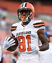 CLEVELAND, OH - AUGUST 18, 2016: Wide receiver Rashard Higgins #81 of the Cleveland Browns carries the ball prior to a preseason game on August 18, 2016 against the Atlanta Falcons at FirstEnergy Stadium in Cleveland, Ohio. Atlanta won 24-13. (Photo by: 2016 Nick Cammett/Diamond Images) *** Local Caption *** Rashard Higgins