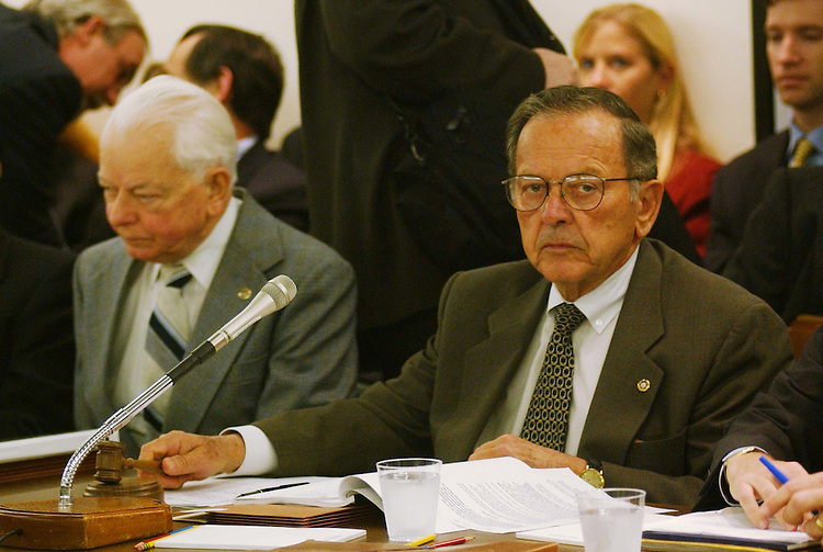10/28/03.FISCAL 2004 SUPPLEMENTAL IRAQ AND AFGHANISTAN OPERATIONS/CONFERENCE COMMITTEE--Senate Appropriations ranking Democrat Robert C. Byrd, D-W.Va., takes his seat as Chairman Ted Stevens, R-Alaska, gavels the meeting to order -- and looks toward photographers to signal their exit -- to consider legislation that would make supplemental fiscal 2004 appropriations for operation in Iraq and Afghanistan. Cameras are not typically allowed during Senate Appropriations markups, but are during House Appropriations markups..CONGRESSIONAL QUARTERLY PHOTO BY SCOTT J. FERRELL