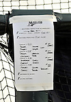 13 March 2008: A Florida Marlins Batting Practice Schedule is taped to the batting cage prior to a Spring Training game between the Washington Nationals and the Florida Marlins at Space Coast Stadium, in Viera, Florida. The Marlins defeated the Nationals 2-1 in the Grapefruit League matchup...Mandatory Photo Credit: Ed Wolfstein Photo