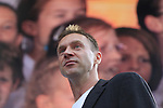 Jens Voigt MC on stage at the Team Presentation in Burgplatz Dusseldorf before the 104th edition of the Tour de France 2017, Dusseldorf, Germany. 29th June 2017.<br /> Picture: Eoin Clarke | Cyclefile<br /> <br /> <br /> All photos usage must carry mandatory copyright credit (&copy; Cyclefile | Eoin Clarke)