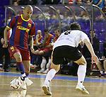 EL FC Barcelona Alusport es clasifica per la final de la Copa del Rei despres de guanyar el partit de tornada de la semifinal 6-1 contra el Azkar Lugo. A la foto Ari Santos