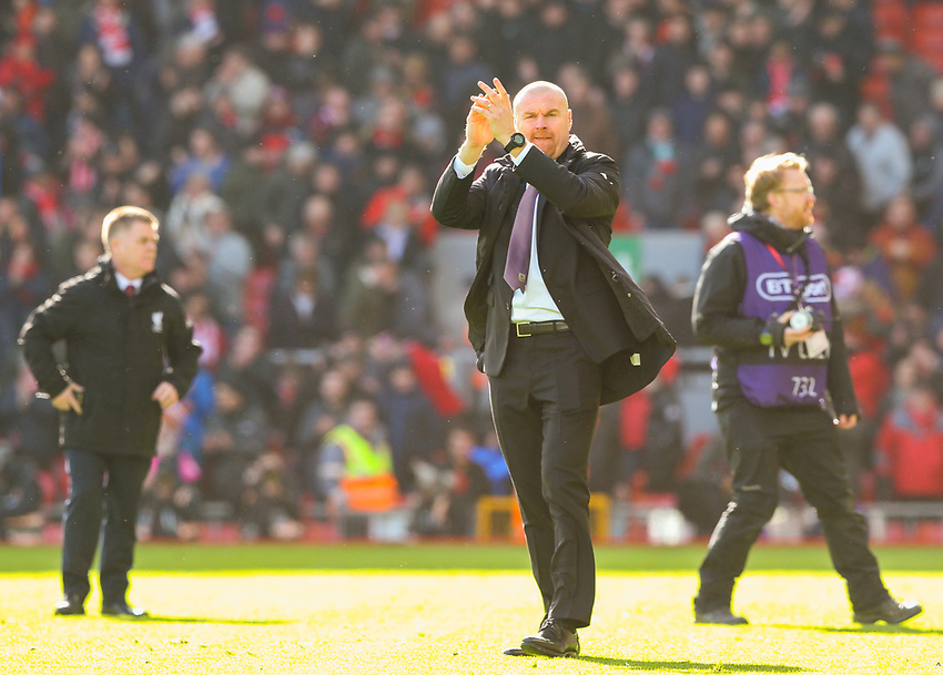 Burnley manager Sean Dyche applauds the fans after the match<br /> <br /> Photographer Alex Dodd/CameraSport<br /> <br /> The Premier League - Liverpool v Burnley - Sunday 10th March 2019 - Anfield - Liverpool<br /> <br /> World Copyright © 2019 CameraSport. All rights reserved. 43 Linden Ave. Countesthorpe. Leicester. England. LE8 5PG - Tel: +44 (0) 116 277 4147 - admin@camerasport.com - www.camerasport.com