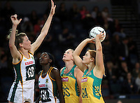 27.08.2016 Australia's Stephanie Wood in action during the Netball Quad Series match between South Africa and Australia at Vector Arena in Auckland. Mandatory Photo Credit ©Michael Bradley.