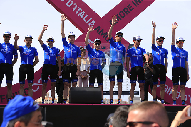 Gazprom-Rusvelo at sign on before Stage 1 of the 100th edition of the Giro d'Italia 2017, running 206km from Alghero to Olbia, Sardinia, Italy. 4th May 2017.<br /> Picture: Eoin Clarke | Cyclefile<br /> <br /> <br /> All photos usage must carry mandatory copyright credit (&copy; Cyclefile | Eoin Clarke)