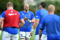 Matt Garvey of Bath Rugby rallies his team-mates during the pre-match warm-up. Matt Garvey of Bath Rugby. Pre-season friendly match, between Bristol Rugby and Bath Rugby on August 12, 2017 at the Cribbs Causeway Ground in Bristol, England. Photo by: Patrick Khachfe / Onside Images