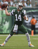 New York Jets quarterback #14 Sam Darnold throws a pass during an NFL game against the Denver Broncos at MetLife Stadium in East Rutherford, NJ on Sunday, Oct. 7, 2018.