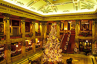 hotel, Richmond, Virginia, VA, Christmas decorations inside The Jefferson Hotel in Richmond.