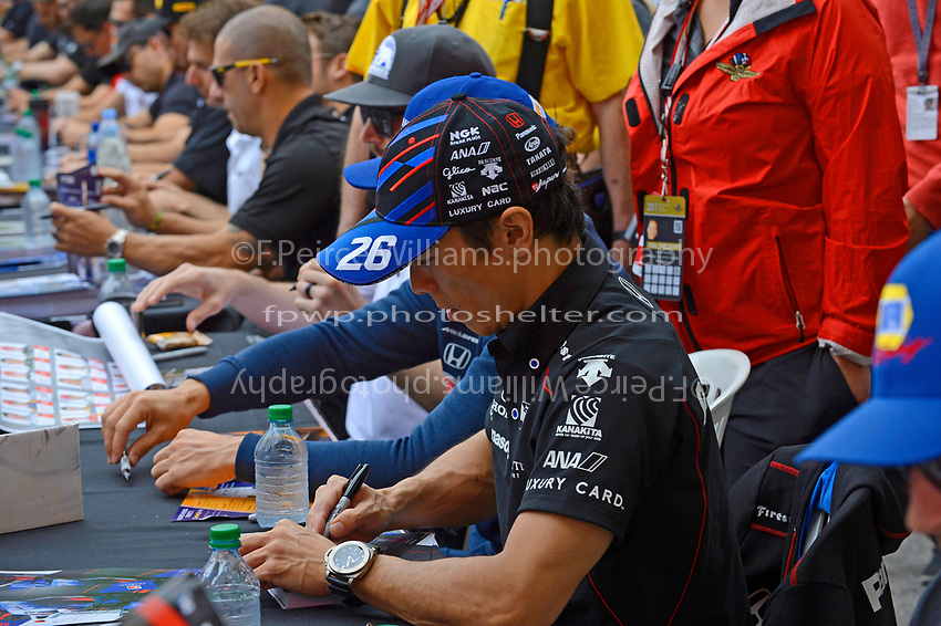 Verizon IndyCar Series<br /> Indianapolis 500 Drivers Meeting<br /> Indianapolis Motor Speedway, Indianapolis, IN USA<br /> Saturday 27 May 2017<br /> Driver's autograph session: Takuma Sato, Andretti Autosport Honda<br /> World Copyright: F. Peirce Williams