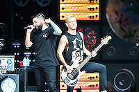 WEST PALM BEACH, FL - AUGUST 05: Singer Jeremy McKinnon and Musician Joshua Woodward of A Day To Remember perform at Perfect Vodka Amphitheatre on August 5, 2016 in West Palm Beach, Florida. Credit: MPI10 / MediaPunch