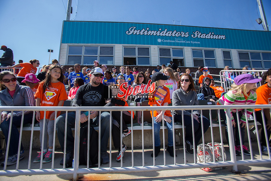 "The Kannapolis Intimidators hosted ""Education Day"" at Kannapolis Intimidators Stadium on April 13, 2016 in Kannapolis, North Carolina.  The Intimidators defeated the Shorebirds 8-7.  (Brian Westerholt/Four Seam Images)"