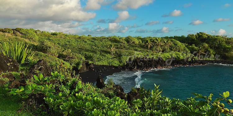 Black sand beach on Maui in Hana at Waianapanapa State Park