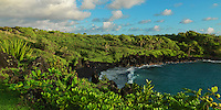 Black sand beach on Maui in Hana at Waianapanapa State Park
