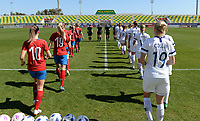 20190301 - LARNACA , CYPRUS : both teams pictured entering the pitch during a women's soccer game between Finland and Czech Republic , on Friday 1 March 2019 at the AEK Arena in Larnaca , Cyprus . This is the second game in group A for Both teams during the Cyprus Womens Cup 2019 , a prestigious women soccer tournament as a preparation on the Uefa Women's Euro 2021 qualification duels. PHOTO SPORTPIX.BE | DAVID CATRY