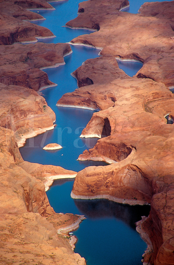 The waters of Lake Powell fill the gorges of Glen Canyon