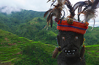 Traditional Ifugao statues Banaue Mountain Province Rice Terraces Philippines
