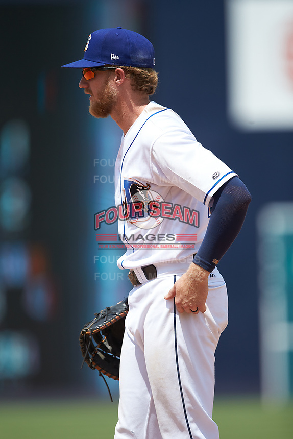 Durham Bulls first baseman Dalton Kelly (19) on defense against the Columbus Clippers at Durham Bulls Athletic Park on June 1, 2019 in Durham, North Carolina. The Bulls defeated the Clippers 11-5 in game one of a doubleheader. (Brian Westerholt/Four Seam Images)