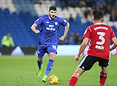31st October 2017, Cardiff City Stadium, Cardiff, Wales; EFL Championship football, Cardiff City versus Ipswich Town; Callum Paterson of Cardiff City controls the ball as he comes up against Jonas Knudsen of Ipswich Town