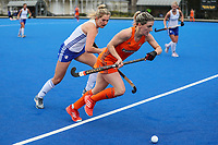 Gemma McCaw in action during the NHL warmup match between Auckland and Midlands at Diocesan School for Girls in Auckland, New Zealand on Sunday, 11 August 2019. Photo: Simon Watts / bwmedia.co.nz