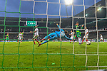 10.02.2019, Weser Stadion, Bremen, GER, 1.FBL, Werder Bremen vs FC Augsburg, <br /> <br /> DFL REGULATIONS PROHIBIT ANY USE OF PHOTOGRAPHS AS IMAGE SEQUENCES AND/OR QUASI-VIDEO.<br /> <br />  im Bild<br /> <br /> 4:0 Kevin M&ouml;hwald / Moehwald (Werder Bremen #06) gegen Gregor Kobel (FC Augsburg #40)<br /> <br />  Aufgenommen mit der Hintertor Remote Kamera<br /> <br /> Foto &copy; nordphoto / Kokenge