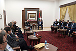 Palestinian President Mahmoud Abbas, meets with communication Committee with the Israeli community, in the West Bank city of Ramallah, on February 24, 2020. Photo by Thaer Ganaim