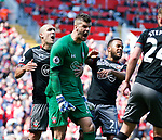 Fraser Forster of Southampton celebrates saving a penalty during the English Premier League match at Anfield Stadium, Liverpool. Picture date: May 7th 2017. Pic credit should read: Simon Bellis/Sportimage