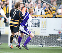 Alloa's Steven May scores the equaliser.