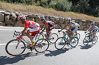 Cameron Meyer (Orica-GreenEdge), Javier Aramendia (Caja Rural), Javier Ramirez Abeja (Andalucia), Amael Moinard (BMC), Mickael Buffaz (Cofidis) and Martijn Keizer (Vacansolei) during the stage of La Vuelta 2012 between Lleida-Lerida and Collado de la Gallina (Andorra).August 25,2012. (ALTERPHOTOS/Paola Otero) /NortePhoto.com<br /> <br /> **CREDITO*OBLIGATORIO** <br /> *No*Venta*A*Terceros*<br /> *No*Sale*So*third*<br /> *** No*Se*Permite*Hacer*Archivo**<br /> *No*Sale*So*third*